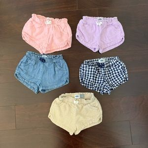 Old Navy set of 5 linen blend shorts, size 18-24m